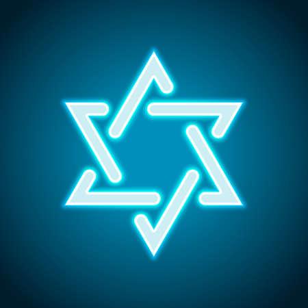 Star of david, simple icon. Neon style. Light decoration icon. Bright electric symbol Illustration