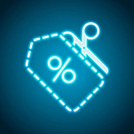 Scissors and Sale label. Simple icon. Neon style. Light decoration icon. Bright electric symbol