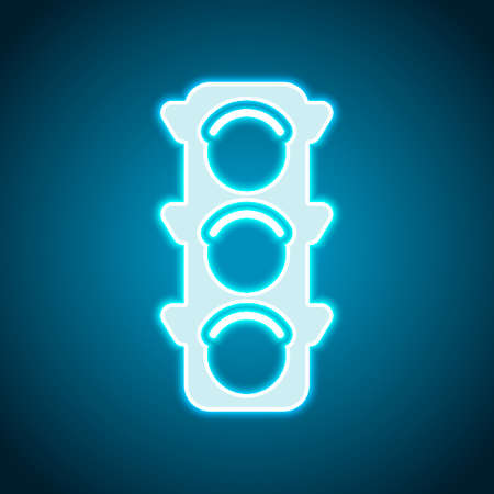 Traffic light icon. Neon style. Light decoration icon. Bright electric symbol