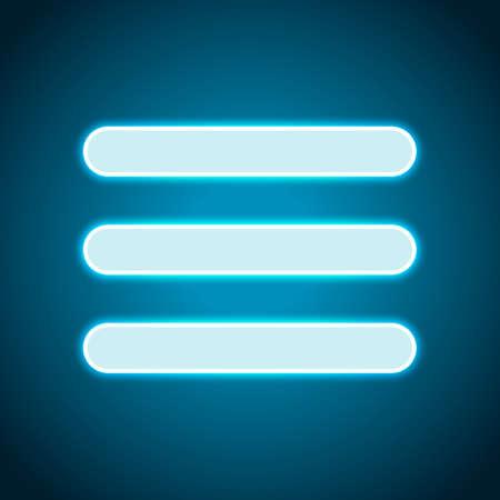 Hamburger menu. Web icon. Neon style. Light decoration icon. Bright electric symbol  イラスト・ベクター素材