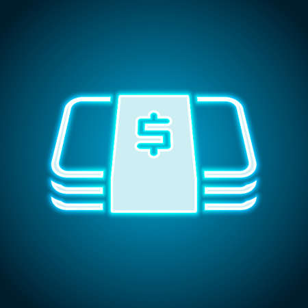 Pack of dollar money or vouchers. Business icon. Neon style. Light decoration icon. Bright electric symbol