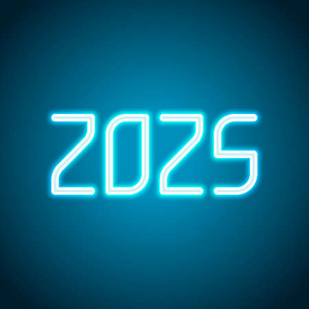 2025 number icon. Happy New Year. Neon style. Light decoration icon. Bright electric symbol