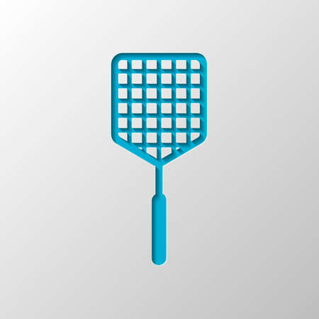Fly swatter icon. Paper design. Cutted symbol with shadow