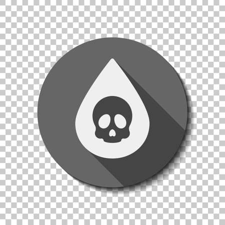 Drop of poison or acid with skull symbol. Icon of danger. flat icon, long shadow, circle, transparent grid. Badge or sticker style