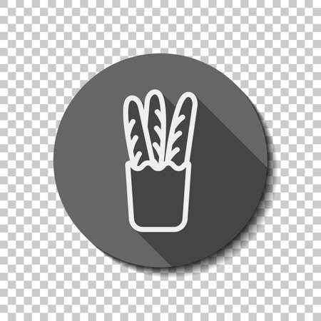 French bread in the paper bag. Food delivery logo. flat icon, long shadow, circle, transparent grid. Badge or sticker style