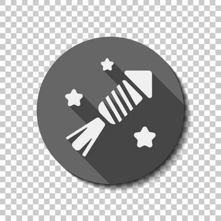 Fireworks rocket with stars. Celebrate icon. flat icon, long shadow, circle, transparent grid. Badge or sticker style