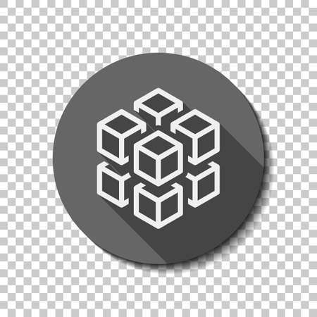 3d cube with eight blocks. Icon of rubik or ice pieces. flat icon, long shadow, circle, transparent grid. Badge or sticker style