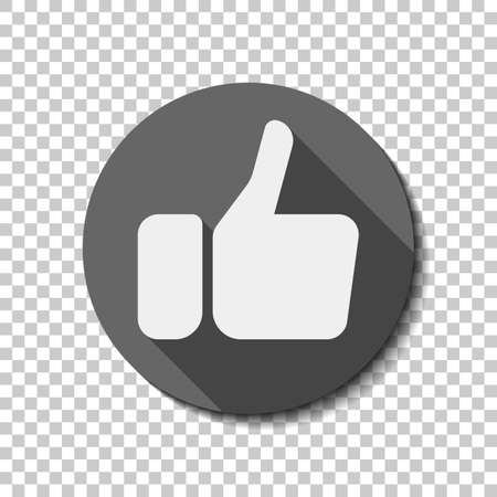 Hand with thumb up, like icon. flat icon, long shadow, circle, transparent grid. Badge or sticker style Ilustrace