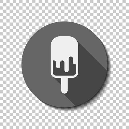 Ice lolly, eskimo on stick with chocolate, ice-cream. Simple icon. flat icon, long shadow, circle, transparent grid. Badge or sticker style Vektorgrafik