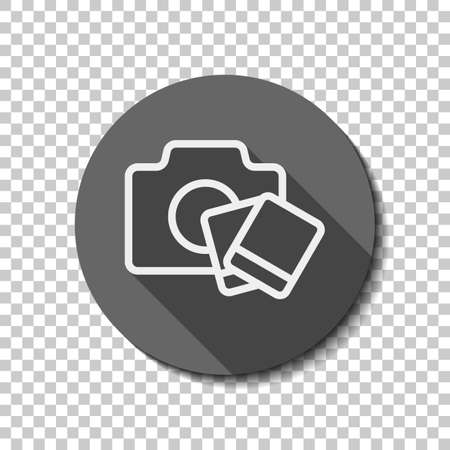 Camera with instant photo cards, outline linear icon. flat icon, long shadow, circle, transparent grid. Badge or sticker style Stockfoto - 115135714