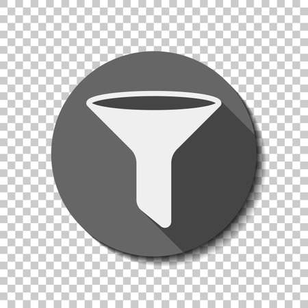 funnel or filter icon. flat icon, long shadow, circle, transparent grid. Badge or sticker style