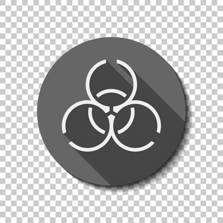 Bio hazard icon. Warning sign about virus or toxic. Linear design. flat icon, long shadow, circle, transparent grid. Badge or sticker style Illustration