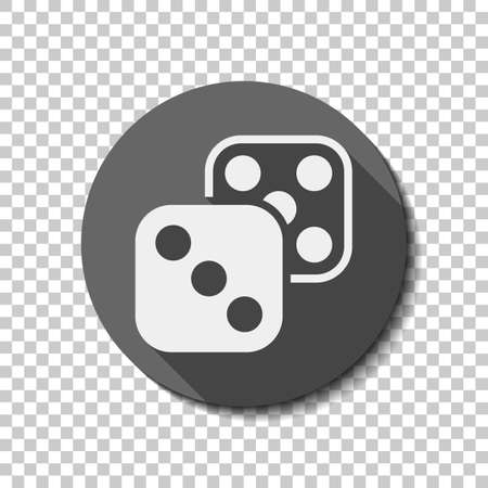 Pair of dice. Icon of azart games. flat icon, long shadow, circle, transparent grid. Badge or sticker style