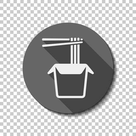 Noodle in box, asian food takeaway, wok icon. flat icon, long shadow, circle, transparent grid. Badge or sticker style
