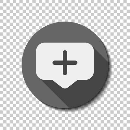 Plus in notification cloud, sign of add or reminder, social icon. flat icon, long shadow, circle, transparent grid. Badge or sticker style