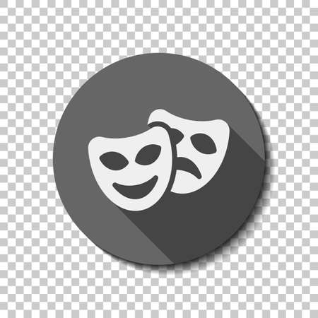 Smile and sad masks, comedy and drama theater, opposite emotions. Icon with happy and depressed faces. flat icon, long shadow, circle, transparent grid. Badge or sticker style