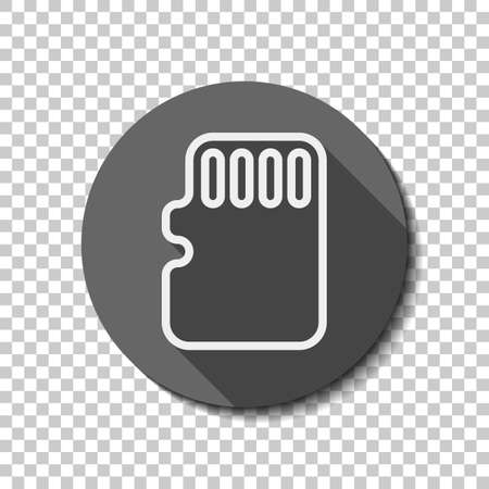 Memory card, micro sd, linear outline technology icon. flat icon, long shadow, circle, transparent grid. Badge or sticker style