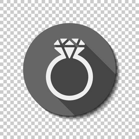 Ring with diamond or brilliant, wedding gift, icon. flat icon, long shadow, circle, transparent grid. Badge or sticker style