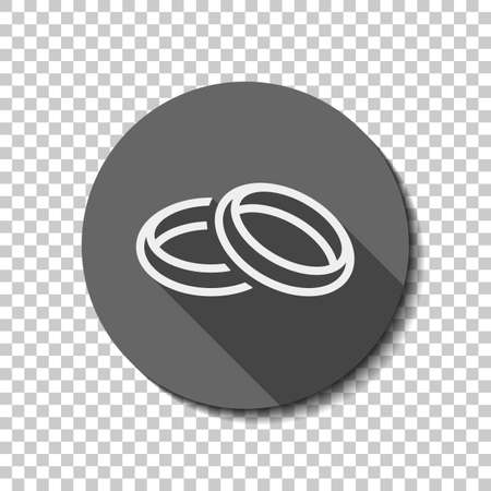 Wedding rings, pair crossed and linked circles, linear outline icon. flat icon, long shadow, circle, transparent grid. Badge or sticker style Banque d'images - 115136441