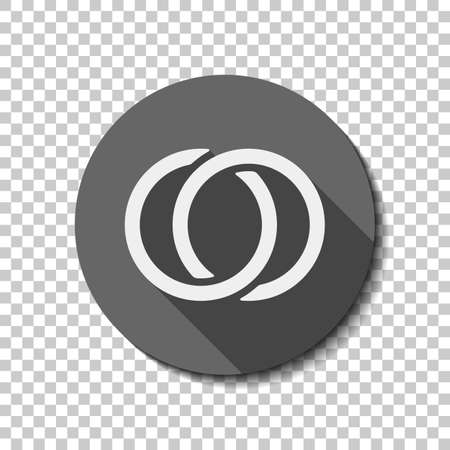 Wedding rings, pair linked circles, simple icon. flat icon, long shadow, circle, transparent grid. Badge or sticker style