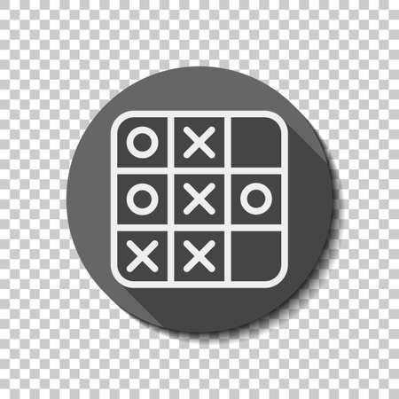 Tic tac toe game, linear outline icon. flat icon, long shadow, circle, transparent grid. Badge or sticker style Çizim