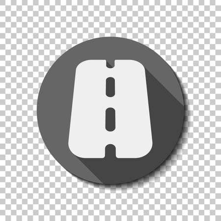 Carretera o autopista, icono simple. icono de plano, sombra, círculo, cuadrícula transparente. Estilo de insignia o pegatina Ilustración de vector