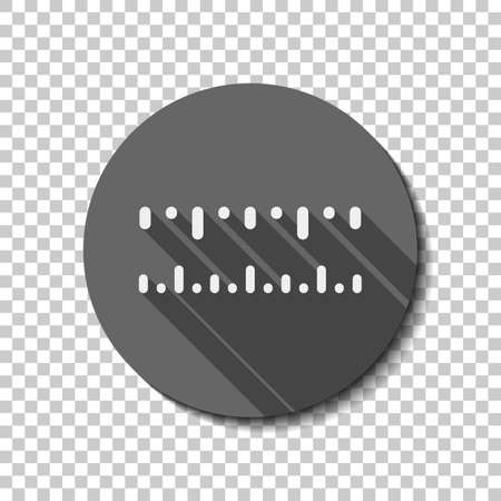 Simple ruler, work tool for measurement, linear icon. flat icon, long shadow, circle, transparent grid. Badge or sticker style