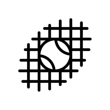Tennis ball and grid, sport game, outline linear icon. Black icon on white background