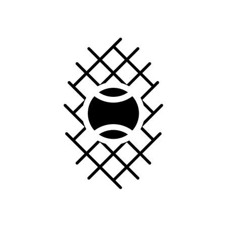 Tennis ball and grid, sport game icon. Black icon on white background