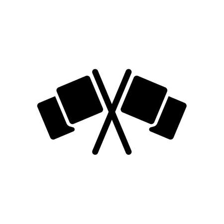 Crossed racing flags, start or finish, icon. Black icon on white background
