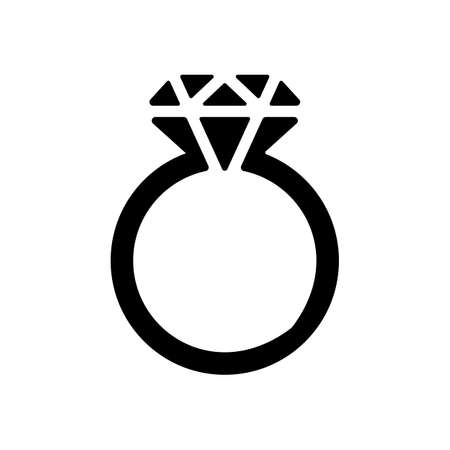 Ring with diamond or brilliant, wedding gift, icon. Black icon on white background Ilustração
