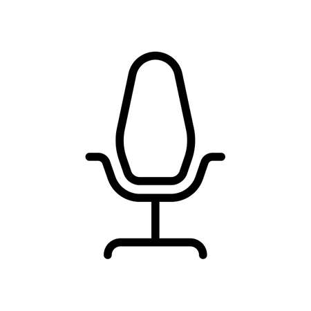 Office chair, linear outline business icon. Black icon on white background Illustration