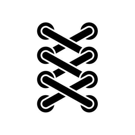Schnürsenkel von Sneaker, einfaches Symbol. Schwarzes Symbol auf weißem Hintergrund Vektorgrafik