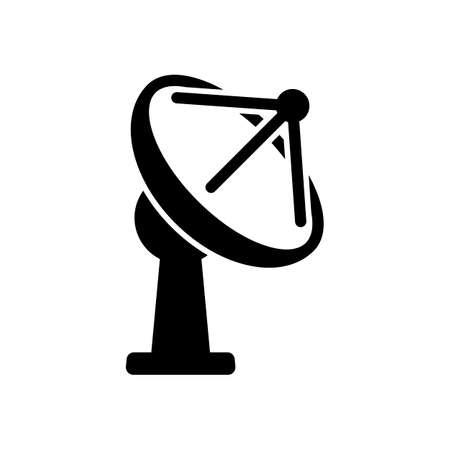 Satellite antenna, communication icon. Black icon on white background