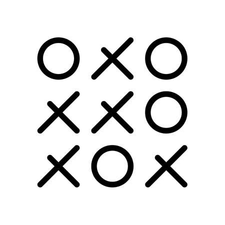 Tic tac toe game, linear outline icon. Black icon on white background
