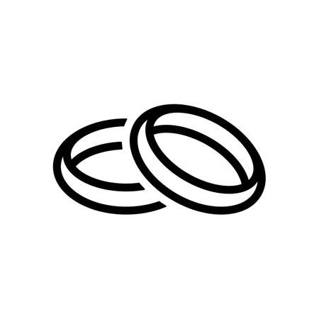 Wedding rings, pair crossed and linked circles, linear outline icon. Black icon on white background Illustration