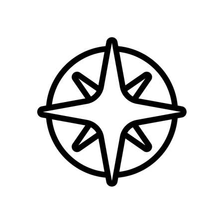 Wind rose, compass with star, outline linear icon. Black icon on white background