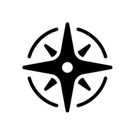 Wind rose, compass with star, icon. Black icon on white background Vettoriali