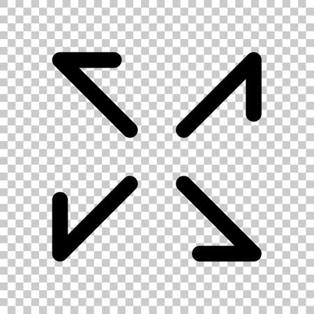 Arrows of four directions, linear icon. Black symbol on transparent background