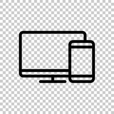 Computer and phone, outline linear icon. Black symbol on transparent background Illustration