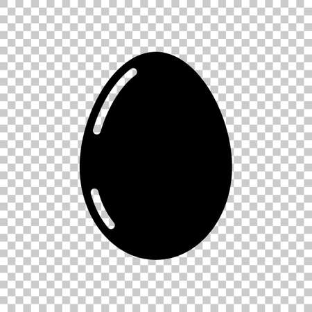 Simple icon of egg with reflection, sign of easter. Black symbol on transparent background Ilustração