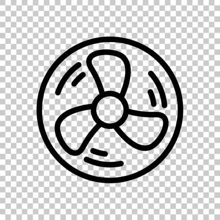 Semplice ventola o dispositivo di raffreddamento, icona lineare di contorno in cerchio. Simbolo nero su sfondo trasparente Vettoriali