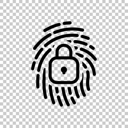 Fingerprint with close lock, personal protect, secutiry icon. Black symbol on transparent background 矢量图像