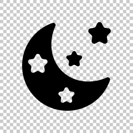Moon with stars, simple icon. Black symbol on transparent background