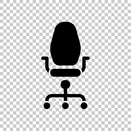 Office chair, business icon. Black symbol on transparent background