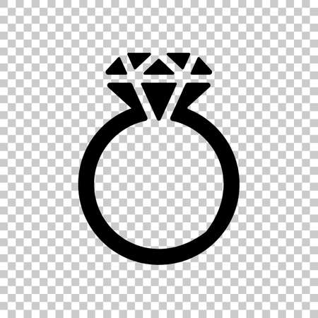 Ring with diamond or brilliant, wedding gift, icon. Black symbol on transparent background