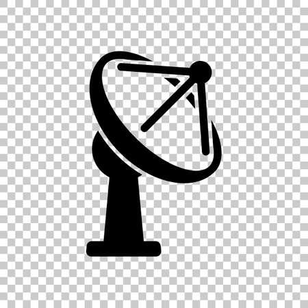 Antena de satélite, icono de comunicación. Símbolo negro sobre fondo transparente