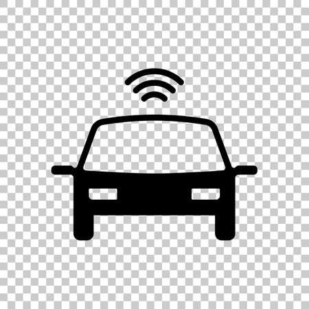 Smart car, modern autonomous auto, automatic transport, technology icon. Black symbol on transparent background