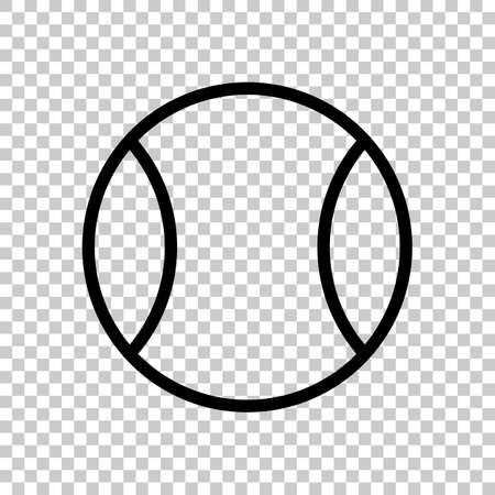 Tennis ball, sport game, outline linear icon. Black symbol on transparent background