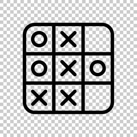 Gra w kółko i krzyżyk, ikona konturu liniowego. Czarny symbol na przezroczystym tle